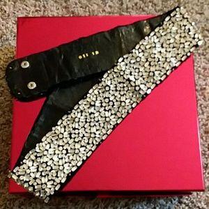 Fabulous crystal beaded belt. Black leather backed
